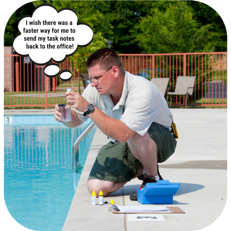 Quickly record water test results into the Evosus Mobile Service app for Pool and Spa businesses